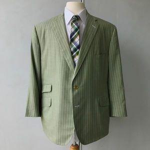 Tom James Men's Three-Piece Suit. Green, White.
